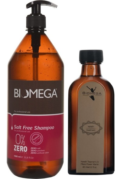 Biomega Tuzsuz Şampuan 1000 ml + Keratin Yağ 95 ml
