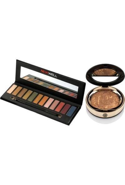Newwell Eyeshadow Palette 12 li 18 gr + Terracotta Porcelain Make-Up D-141 15 gr