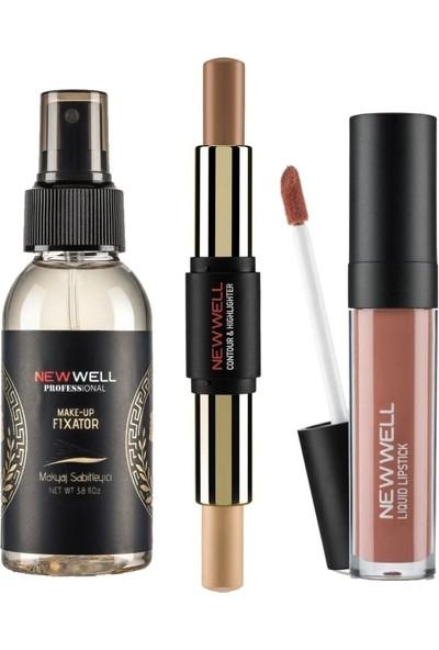 Newwell Makyaj Sabitleyici Fixator 100 ml + Newwell Stıck Contour & Hıghlıghter + Porcelain Make Up Lipstick D-201 6 ml