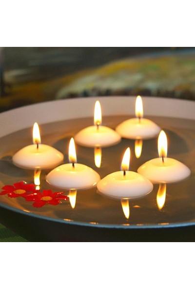 Happy Candle 100'lü Beyaz Yüzen Tea Light Mum 22 g Büyük Boy mm30-100