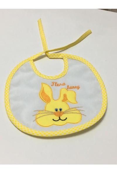 Flora Bebek Mama ÖnlüğüTavşan Desenli Oval Sarı