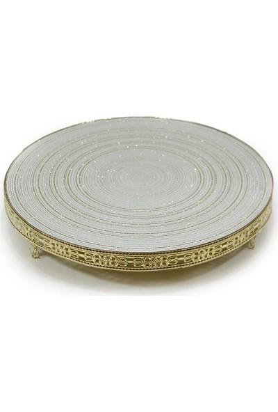 Dekorsende Altın Tepsi Aynalı 36 Cm