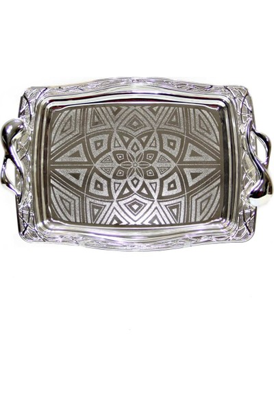 Dekorsende Tepsi Orta Boy Gümüş Dikdörtgen 38X26