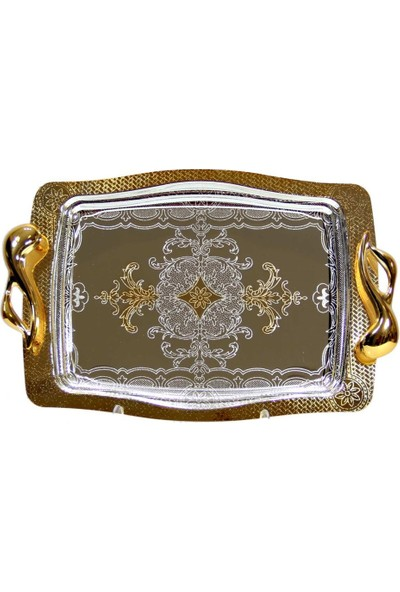 Dekorsende Tepsi Orta Boy Altın Dikdörtgen 38X26