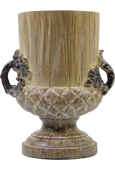Dekorsende Küçük Eskitme Kulplu Vazo