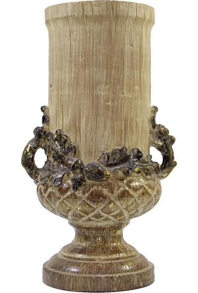 Dekorsende Büyük Eskitme Kulplu Vazo