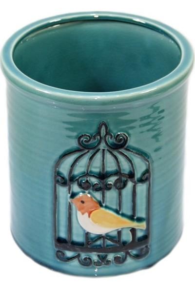 Dekorsende Kuş Motifli Vazo Mavi