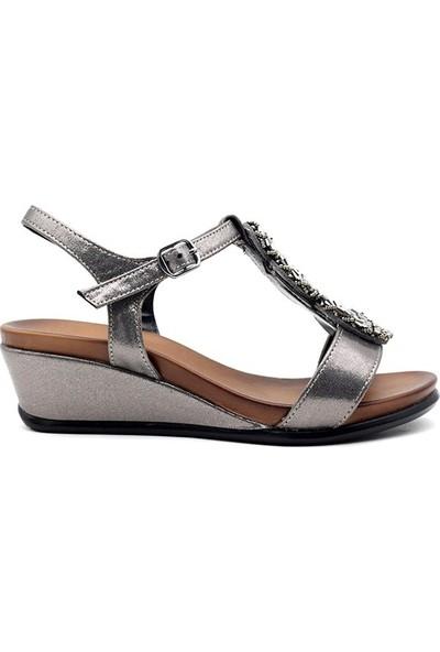 Miss Folx 179 Deri Kadın Dolgu Topuk Sandalet