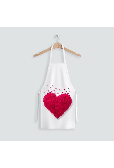 Hediye35 Uçuşan Kalpler Mutfak Önlüğü