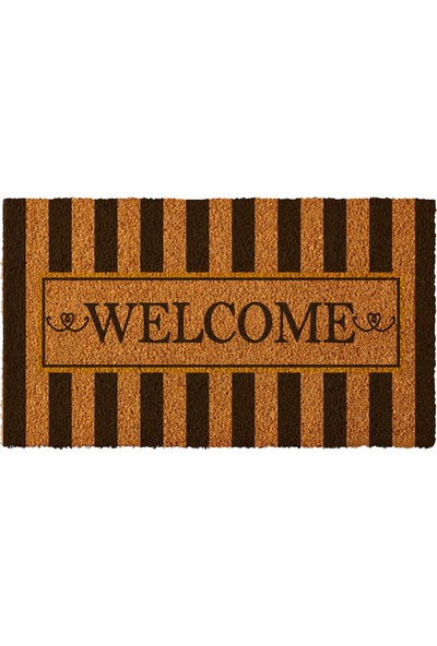 Paspas Yap Kişiye Özel İsimli Kapı Önü Paspası Çizgili Welcome Modeli 40x70cm