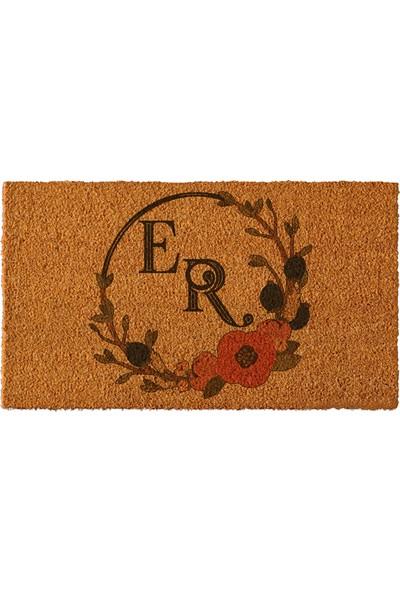 Paspas Yap Kişiye Özel İsimli Kapı Önü Paspası Yuvarlak Çiçek Çerçeve 50x90cm