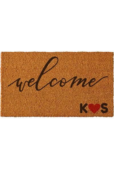 Paspas Yap Kişiye Özel İsimli Kapı Önü Paspası Welcome Kaligrafi Modeli 50x90cm