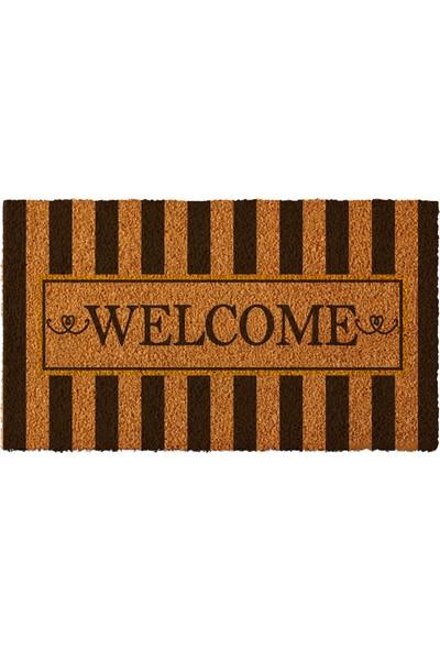 Paspas Yap Kişiye Özel İsimli Kapı Önü Paspası Çizgili Welcome Modeli 50x90cm