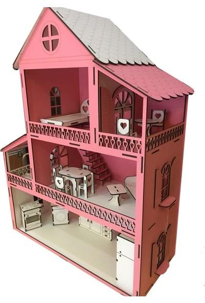 Ahşap Eşyalı Oyuncak Bebek Evi