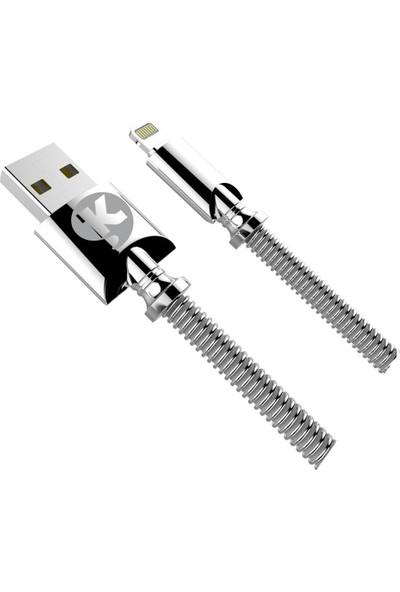 Ktools İphone Lightning Çelik 2.4A 1M Data Kablosu Hızlı Şarj