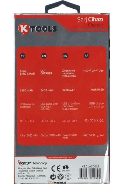 Ktools Hızlı Şarj 5.4A Çoklu Araç Şarjı Çakmaklık ve Micro USB Kablo Siyah Renk