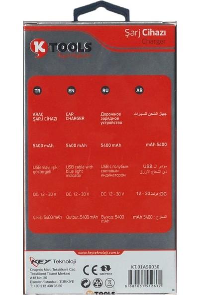 Ktools Hızlı Şarj 5.4A Çoklu Araç Şarjı Çakmaklık ve Micro USB Kablo Beyaz Renk