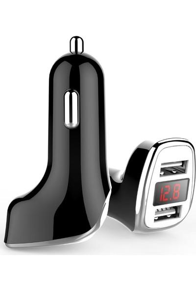 Ktools LCD Ekranlı 3.1A Çoklu Araç Şarjı Çakmaklık İphone Samsung Tüm Cihazlarla Uyumlu