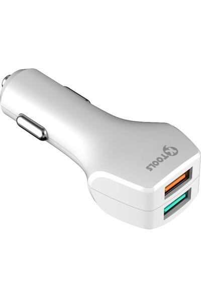 Ktools Hızlı Şarj 5.4A Çoklu Araç Şarjı Çakmaklık ve Type C Kablo Beyaz Renk