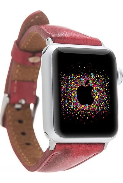 Bouletta Apple Watch Deri İnce Kordon 38/40mm-V4EF Kırmızı