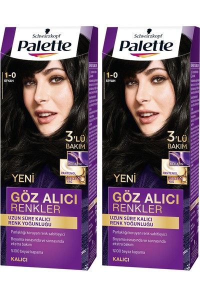 Palette Yoğun Göz Alıcı Renk Saç Boyas 1-0 Siyah x 2 Paket