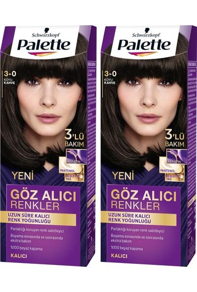 Palette Yoğun Göz Alıcı Renk Saç Boyas 3-0 Koyu Kahve x 2 Paket