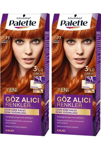 Palette Yoğun Göz Alıcı Renk Saç Boyası 7-77 Yoğun Bakır x 2 Paket