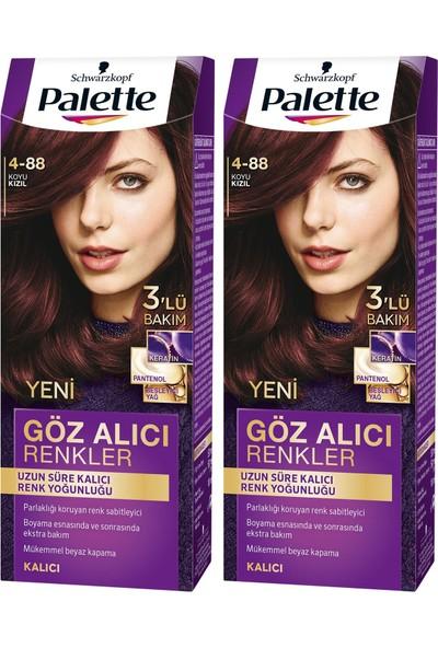 Palette Yoğun Göz Alıcı Renk Saç Boyas 4-88 Koyu Kızıl x 2 Paket