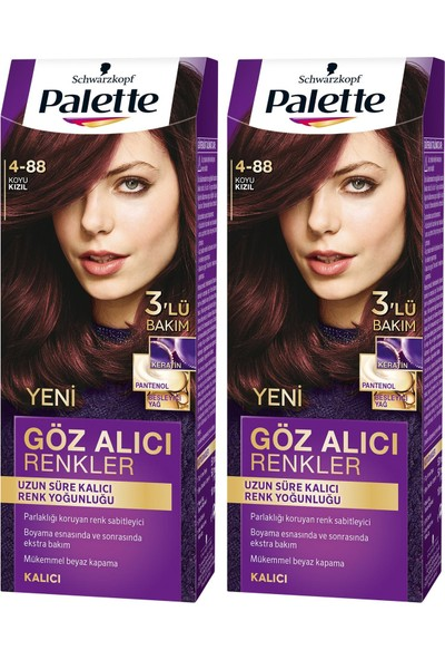Palette Yoğun Göz Alıcı Renk Saç Boyas 6-88 Yoğun Kızıl x 2 Paket