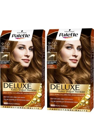 Palette Deluxe Yoğun Renkler 9-50 Altın Parıltılı Bal x 2 Paket