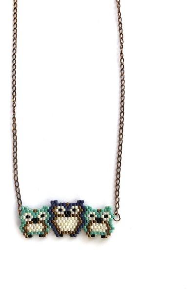 Emotion Handmade Üçlü Baykuş Kolye N1029