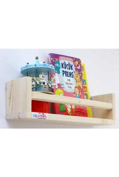 Ceebebek Ahşap Bebek Çocuk Odası Duvar Rafı Kitaplık Eğitici Montessori Raf Tekli