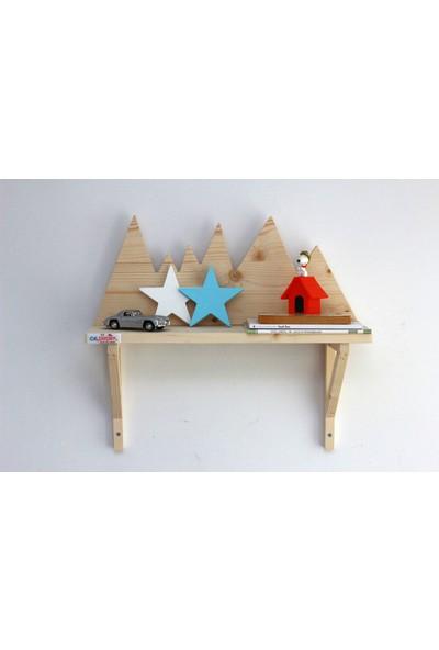 Ceebebek Ahşap Bebek Çocuk Odası Duvar Dekorasyon Montessori Mavi Beyaz Yıldız 2'li Set