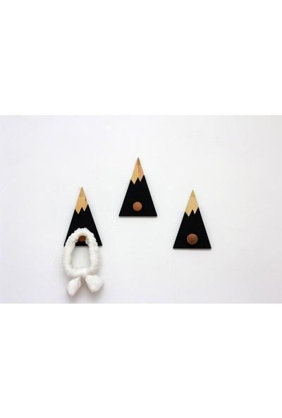 Ceebebek Ahşap Bebek Çocuk Odası Kıyafet Askı Duvar Rafı Siyah Dağ Askılık 3'lü Set
