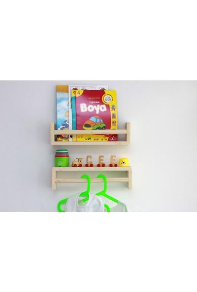 Ceebebek Ahşap Bebek Çocuk Odası Kıyafet Askısı Duvar Rafı Kitaplık Montessori 2 'li Askı