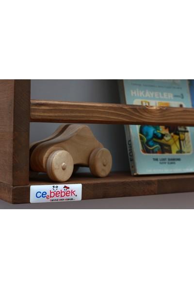 Ceebebek Ahşap Bebek Çocuk Odası Duvar Rafı Kitaplık Eğitici Montessori Raf 2 Katlı Ceviz