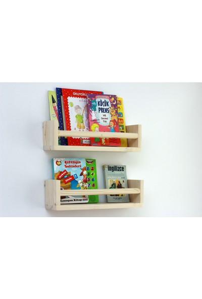 Ceebebek Ahşap Bebek Çocuk Odası Duvar Rafı Kitaplık Eğitici Montessori 2 'li Raf