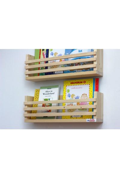 Ceebebek Ahşap Bebek Çocuk Odası Duvar Rafı Kitaplık Eğitici Montessori Raf Gazetelik Dergilik