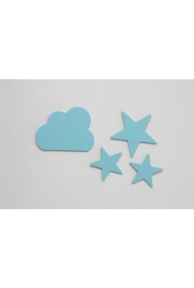 Ceebebek Ahşap Bebek Çocuk Odası Duvar Dekorasyon Montessori Mavi Yıldız 3'lü Set