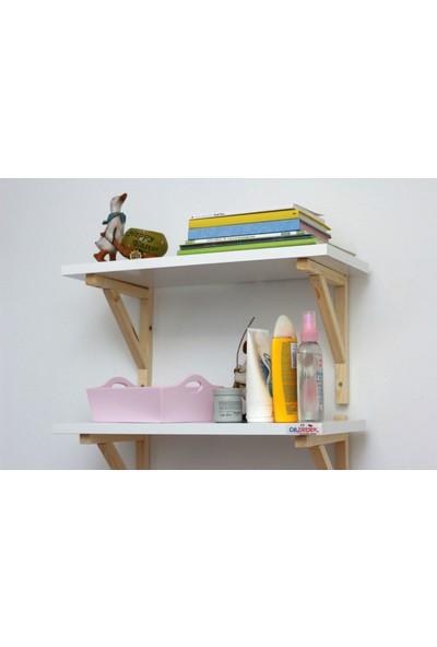 Ceebebek Ahşap Bebek Çocuk Odası Duvar Rafı Kitaplık Eğitici Montessori Raf Dekor İkili Raf
