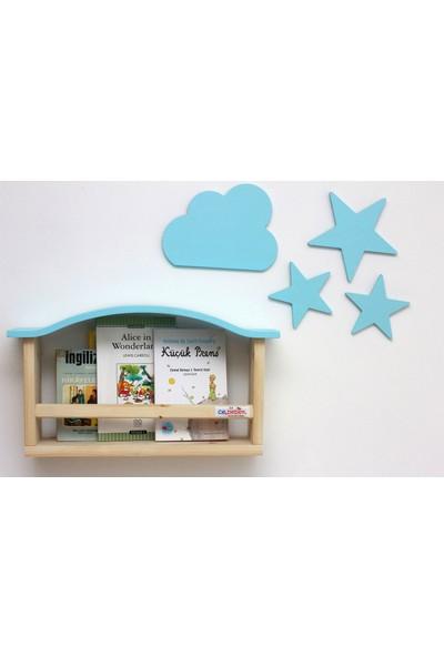 Ceebebek Ahşap Bebek Çocuk Odası Duvar Dekorasyon Montessori Mavi Yıldız Bulut 4'lü Set