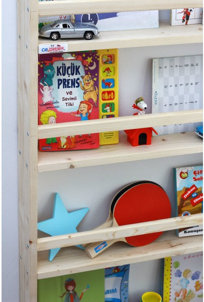 Ceebebek Ahşap Çocuk Odası Raf Anaokulu Okul Öncesi Eğitim 4 Katlı Montessori Kitaplık