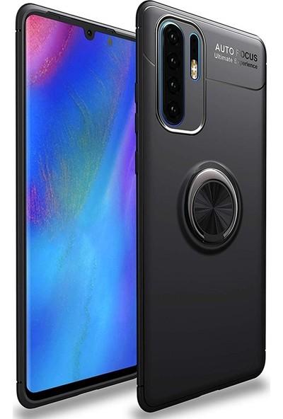 Kılıfshop Huawei P30 Pro Silikon Kılıf Ravel Soft Yüzüklü Standlı (Siyah)