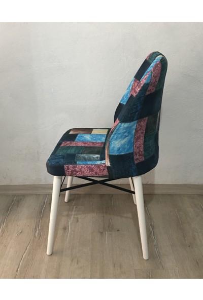 Öz-Kar Tay Tüyü Kumaş Ahşap Ayaklı Sandalye Desenli