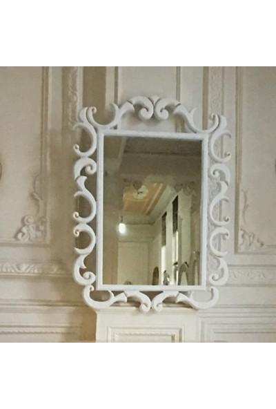 Öz-kar Ahşap El Oyma Desenli Dekoratif Ayna Milano Beyaz