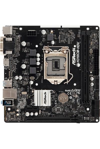 ASRock H310CM-HDV 1x PCIeX16 1x PCIeX1 2x DDR4 4xSATA3 2x USB3.1 Intel H310 Chipset Intel 8.9. Nesil İşlemci Desteği mATX Anakart (ASRH310CM-HDV)