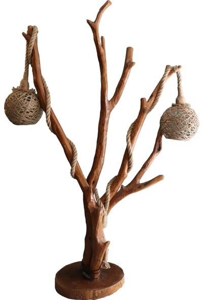 Wood Book Geyik Boynuzu Doğal Ağaç Lambader