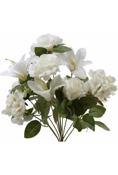 Dekorsende Yapay Gül Lilyum Ortanca Demeti Beyaz