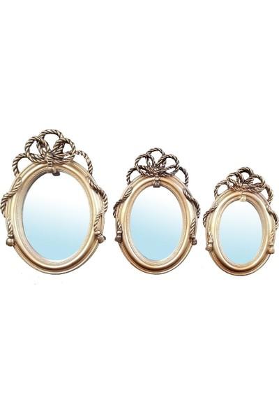 Gold Dekor Halatlı Ayna 3 Lü Altın Renk