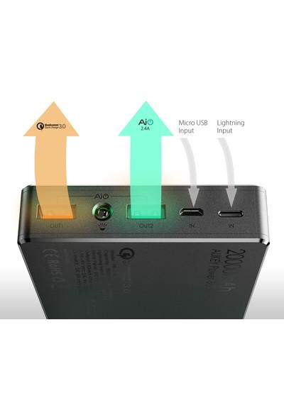 Aukey 20000Mah Powerbank Hızlı Şarj Qualcomm 3.0, Lightning & Micro Usb Input, 2 Usb Outputs